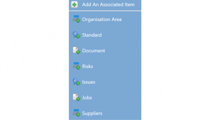 Add associated documentation, standards suppliers etc to your audit